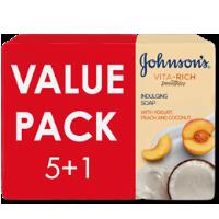 صابون جونسون بخلاصة الزبادي والخوخ وجوز الهند 125غرام 5+1 مجاناً