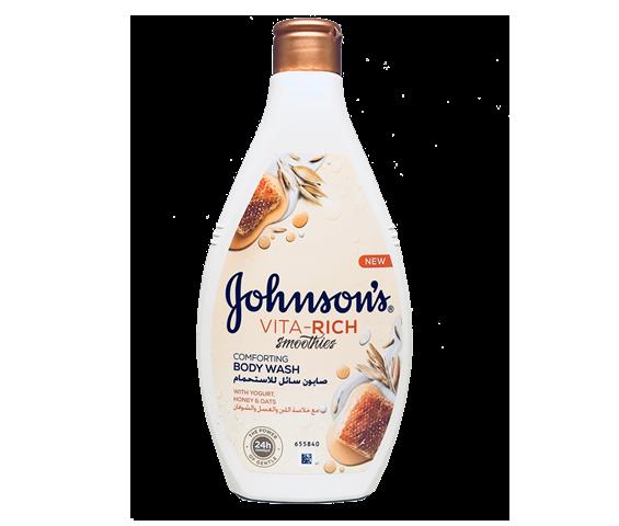 جونسون صابون سائل الاستحمام مع خلاصة اللبن والعسل والشوفان 400 مل