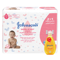 جونسون مناديل لتنظيف لطيف لكامل بشرة الاطفال 2+1