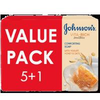 صابون جونسون بخلاصة اللبن و العسل و الشوفان 125 غرام  5+1 مجاناً